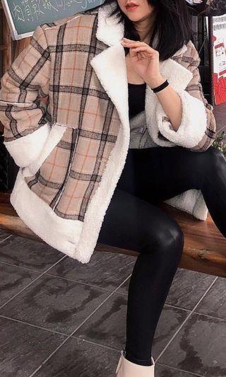 🚚 歐美格紋羊羔毛外套