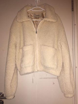 Pull&Bear L cropped faux shearling/teddy jacket