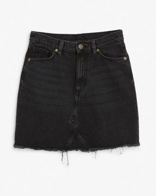 Cotton On Black Denim Skirt frayed and ripped
