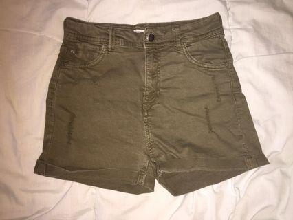 Bershka ripped green high waist shorts