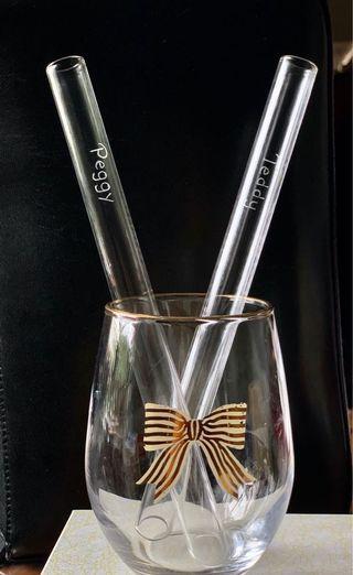 玻璃粗飲管(15mm) HKD 30+HKD 20 手工刻名