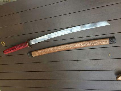 Pedang samurai,mata besi spring sarung pedang kayu sekiat