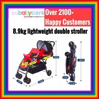 FREE DELIVERY Lightweight Recline Double Stroller