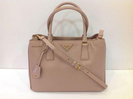 PRADA CAMMEO SAFFIANO METAL MEDIUM TOTE WITH STRAP