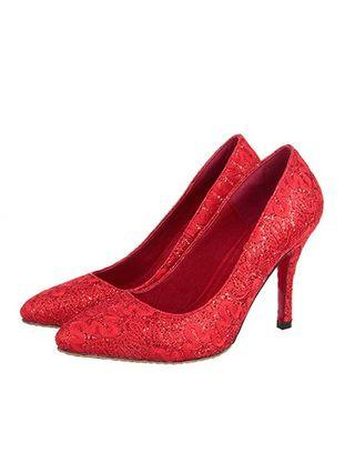 BRAND NEW RED LACE HEELS