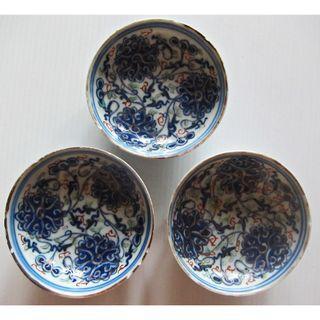 Chinese Doucai Lotus small dish – 3 pcs lot.  (光绪青花加彩缠枝莲花纹小盘)
