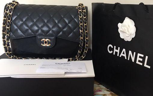 Chanel Bag jumbo black caviar gwh
