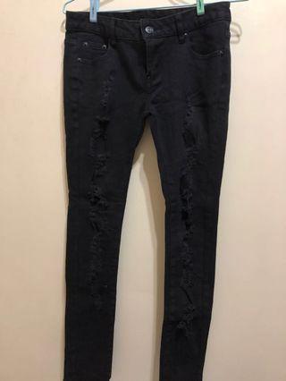 黑色 顯瘦牛仔長褲 M號