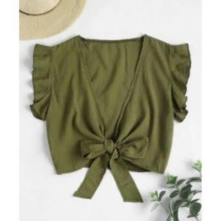 Tie Knot Ruffle Sleeve Crop Top
