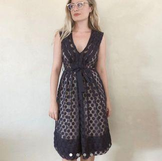 Basque sheer polka dot dress