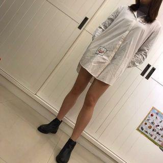 🚚 刺繡白色長版襯衫洋裝 男友襯衫