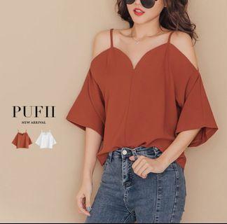 PUFII-雪紡上衣 V領露肩吊帶雪紡上衣 全新 僅試穿 無吊牌 轉售