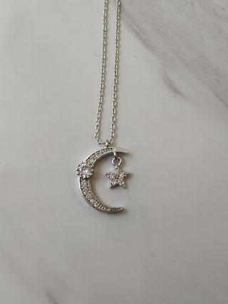 🚚 星星月亮項鍊 銀鍊 全新