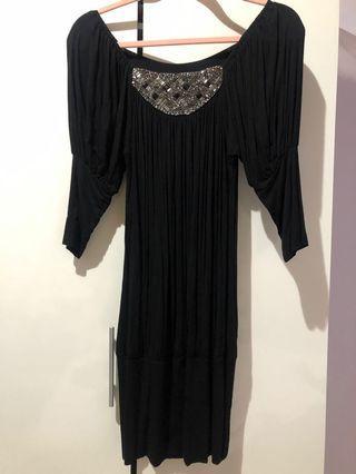 黑色 復古 棉質 洋裝