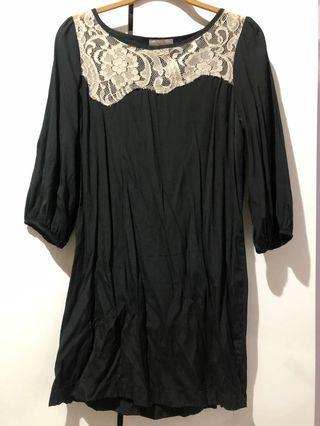 黑色 七分袖 小洋裝