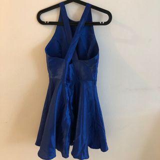 Royal blue sheer dinner dress
