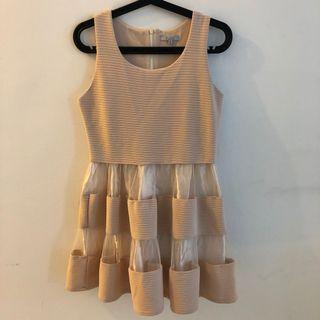 Plata nude sheer dinner dress