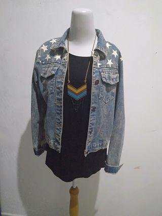 Jaket denim flag amerika