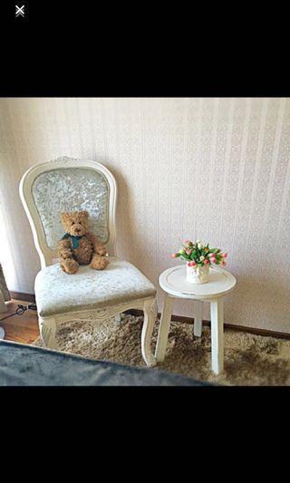 Velvet Victorian Chair in light champagne color