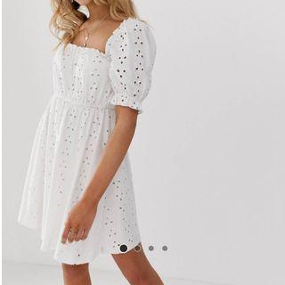ASOS DESIGN MILKMAID Broderie Mini Dress
