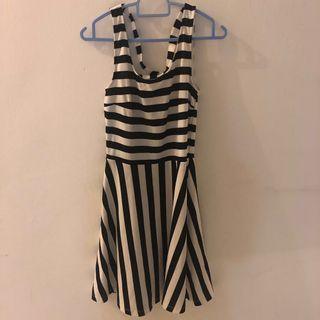 H&M stripe cross-back skater dress