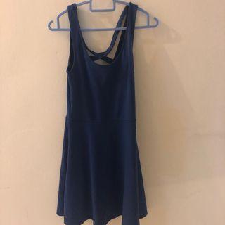 H&M blue cross-back skater dress