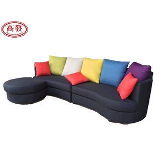 9.3FT L-SHAPE Sofa Fabric Round ( 4 Seater + 1 Stool )