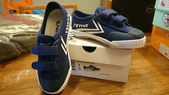 🚚 全新FEIYUE 藍色帆布男童鞋