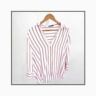 Bershka Striped V Neck Blouse
