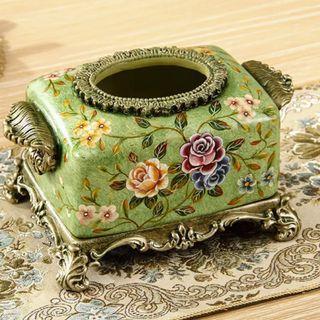 Porcelain Tissue Box - Green Monsterous Flowers