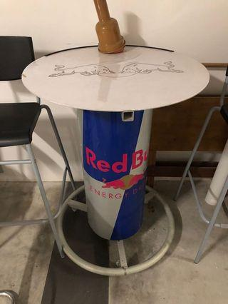Red bull table and high chair