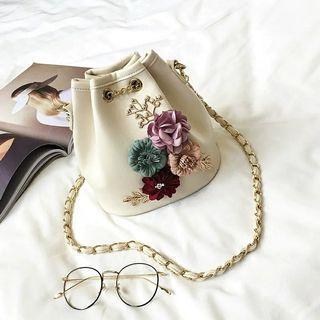 Mark Dw - Pretty Basket Bag with 3D Flora