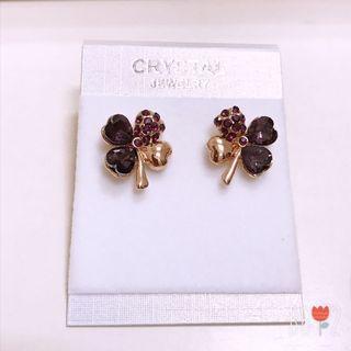全新❤️紫色幸運草耳環 耳環 鑽飾