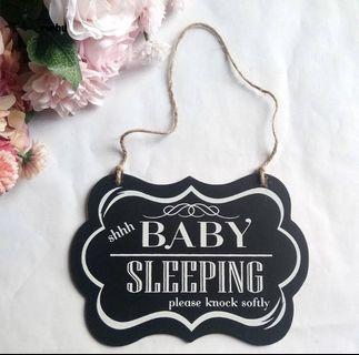 """Brand New """"Baby Sleeping"""" wooden door sign"""