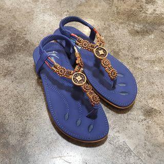 藍色波希米亞風彈性套腳涼鞋