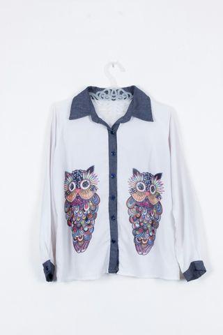 Kemeja Wanita Putih Owl Printing