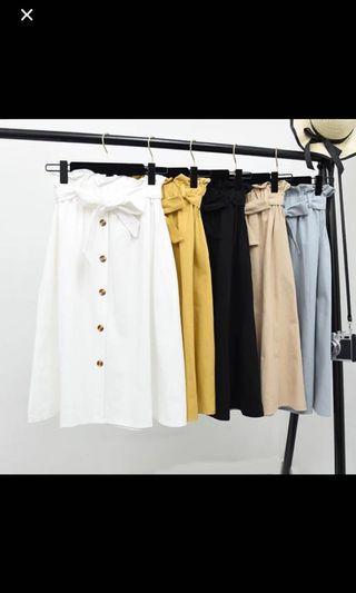 Paper bag button down midi skirt