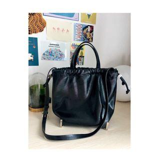 AUTH Zara trf black drawstring sling bag