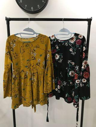 🚚 Floral Babydoll Flare Sleeve Top
