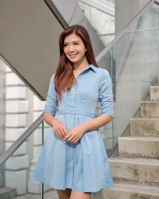 🚚 BN Felicity Collar Shirt Dress in Sky Blue Eternity Loft