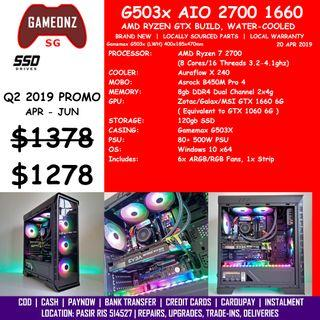 FREE DELIVERY BUDGET GAMING PC GAMEMAX G503X AMD RYZEN 7 2700 GTX 1660 6G BUILD BUDGETG503X AIO R7-2700 GTX1660