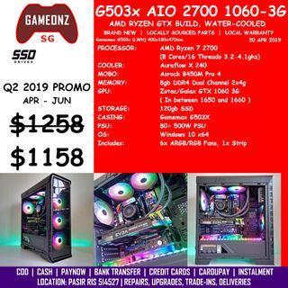 FREE DELIVERY BUDGET GAMING PC GAMEMAX G503X AMD RYZEN 7 2700 GTX 1060 3G BUILD BUDGETG503X AIO R7-2700 GTX1060