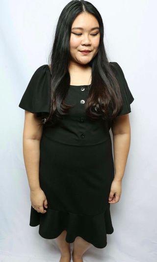 LovePrettyPlus Black Ruffle Button Down Dress