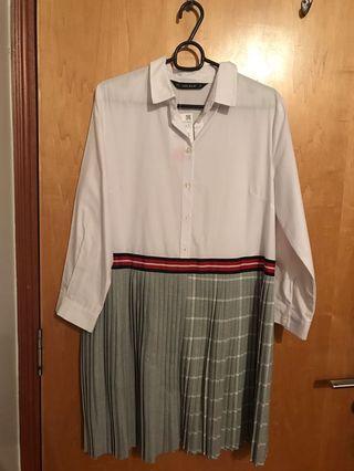 Zara- white and grey pleated shirt dress