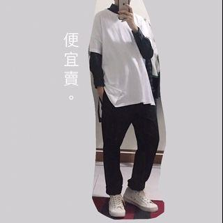 白色 寬鬆T恤 寬T 消肩 前短後長 短袖 休閒 白T