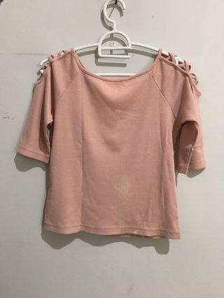 Colorbox Sabrina tied pink top