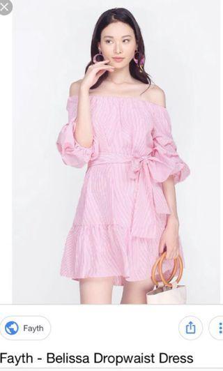 🚚 Fayth- Belissa drop waist dress pink stripes