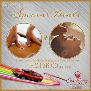 """TRADITIONAL / OIL BODY MASSAGE + FACE MASSAGE """"MAY'19 SPECIAL DEALS"""""""