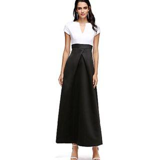 NWT Structured Formal/Prom/Evening Dress A-Line Ankle Length Satin Black & White Color Block Sz 2/4