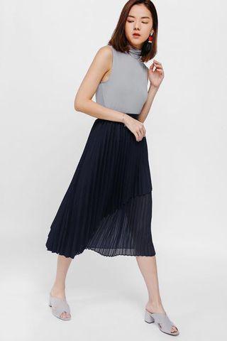 🚚 Fillioe Asymmetrical Layered Pleated Midi Skirt